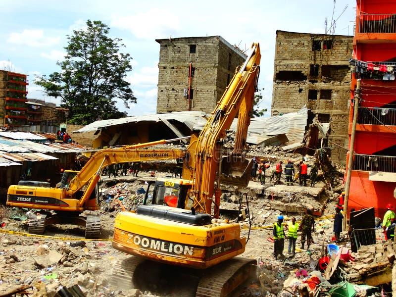 Nairobi-Kenya kollapsat byggande arkivfoto