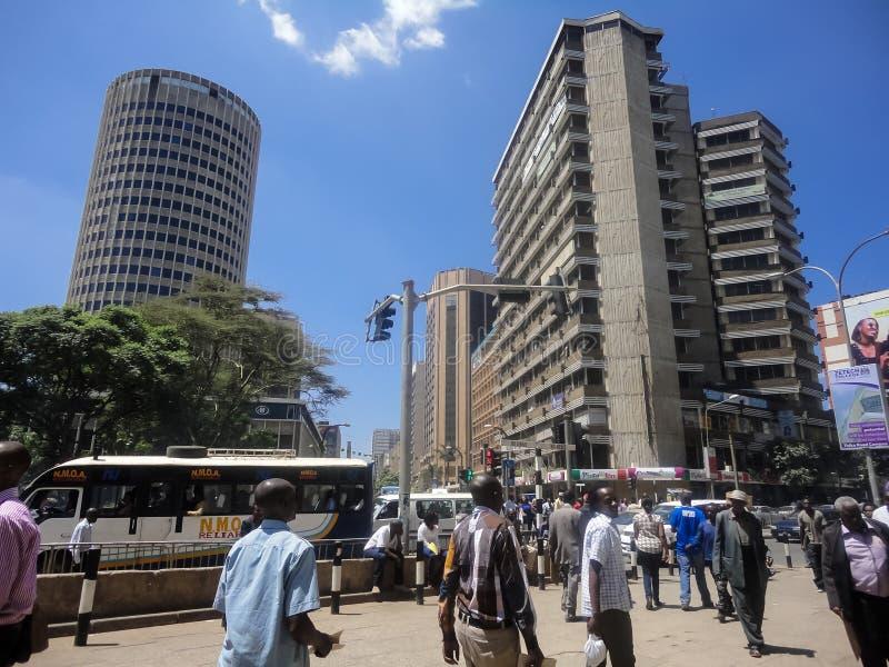 Nairobi, Kenya. Unidentified people on the street of Nairobi, Kenya. Nairobi is the capital and largest city of Kenya stock images