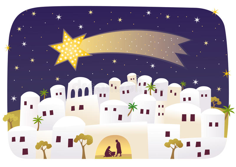 Naissance de Jésus à Bethlehem illustration libre de droits