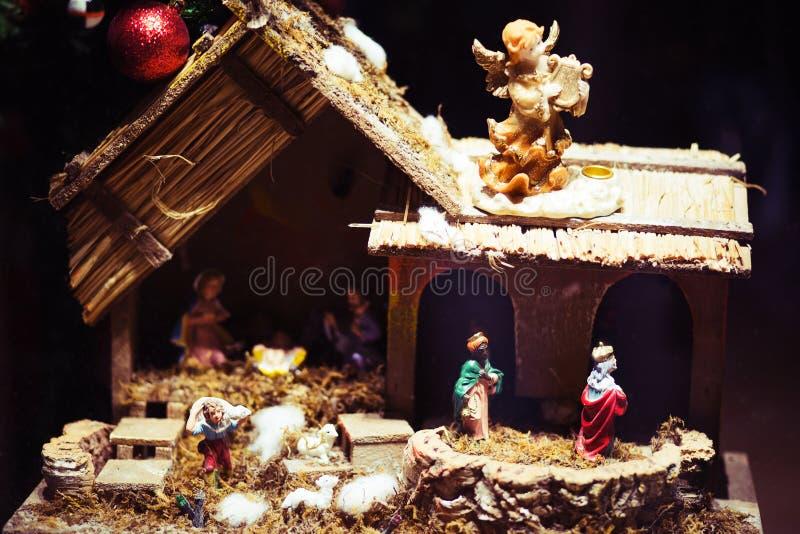 Naissance de Jesus Christ, huche de Noël photos libres de droits