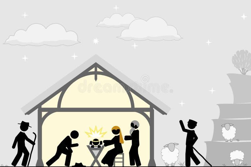 Naissance du Christ près de la ville de Bethlehem illustration stock