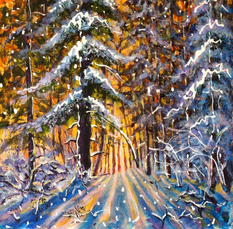 Naissez dans le lever de soleil de forêt d'hiver d'un soleil jaune chaud dans un paysage bleu froid d'hiver de forêt d'hiver Gran images stock