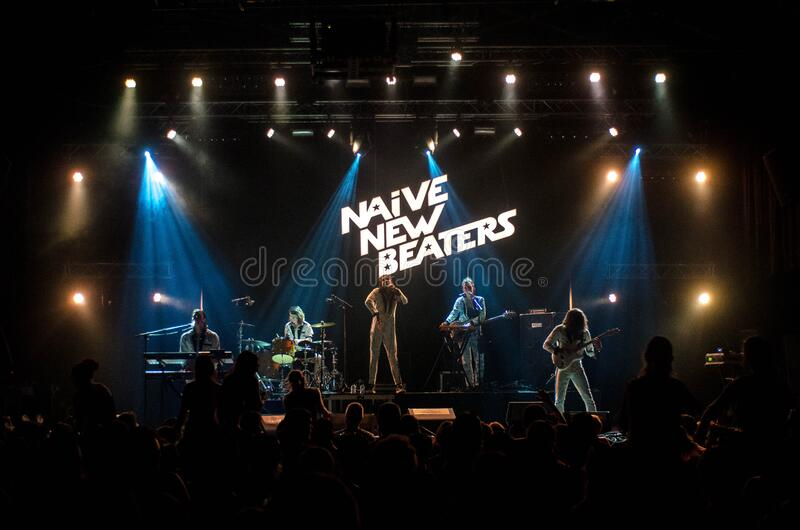 Naive New Beaters Band Inside Room royalty free stock photo