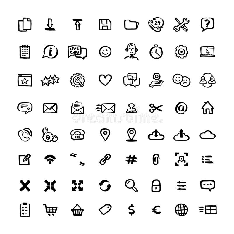 Naive style icon set. Doodle ink Set of icons with elements for mobile concepts and web apps. Vector hand drawn naive stock illustration