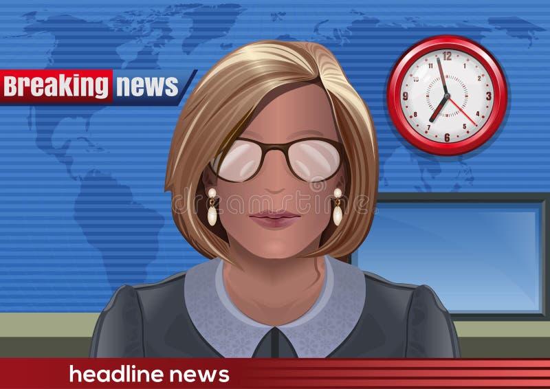 najświeższe wiadomości złamać każdą aktualizację Sylwetka kobieta z szkłami royalty ilustracja