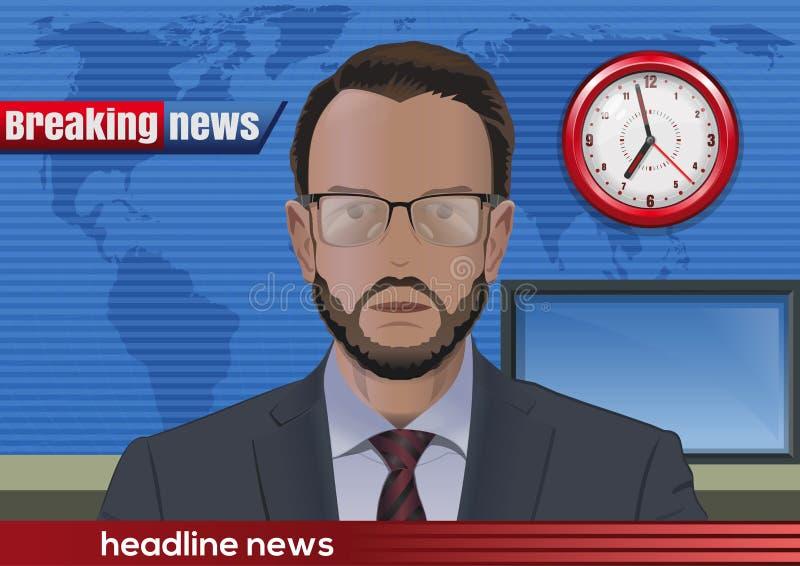 najświeższe wiadomości złamać każdą aktualizację Wiadomość spiker w studiu royalty ilustracja