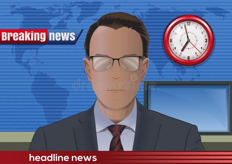 najświeższe wiadomości złamać każdą aktualizację Wiadomość spiker w studiu ilustracji