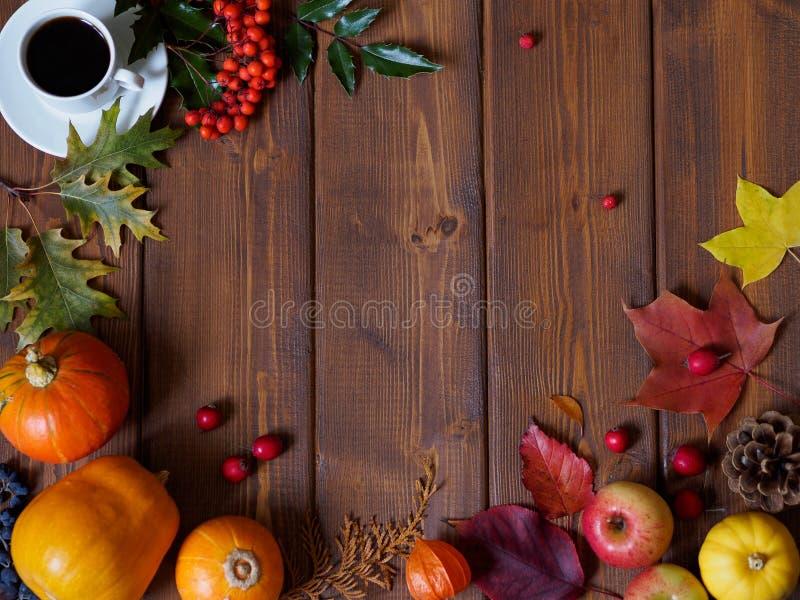 Najaar platte vooraanzicht Frame gemaakt van bladeren, pompoenen, appelen royalty-vrije stock afbeelding