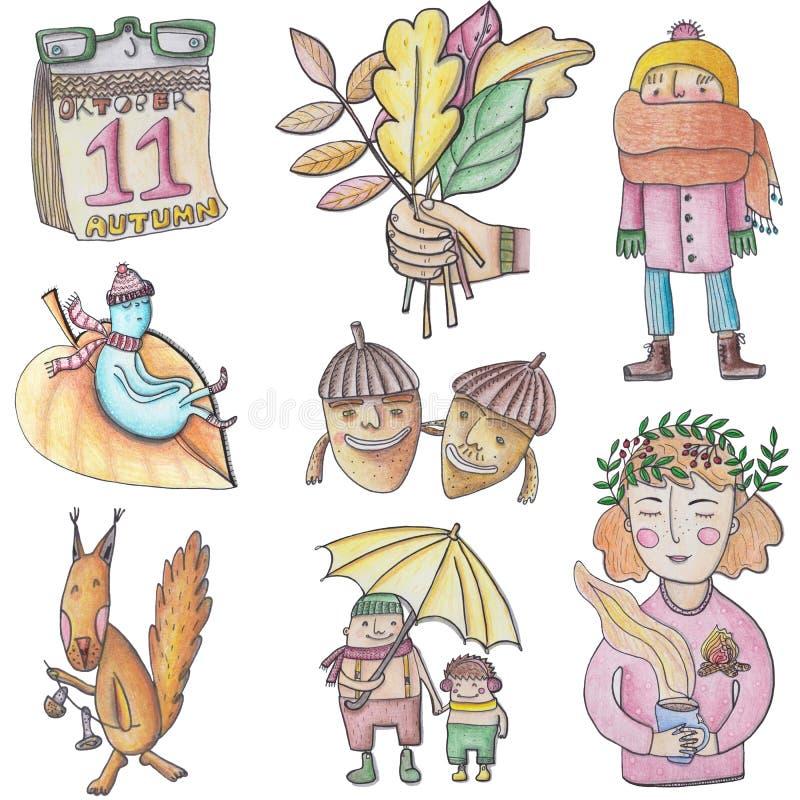 Najaarsillustratie voor wenskaarten, posters, web, afdrukken stock illustratie