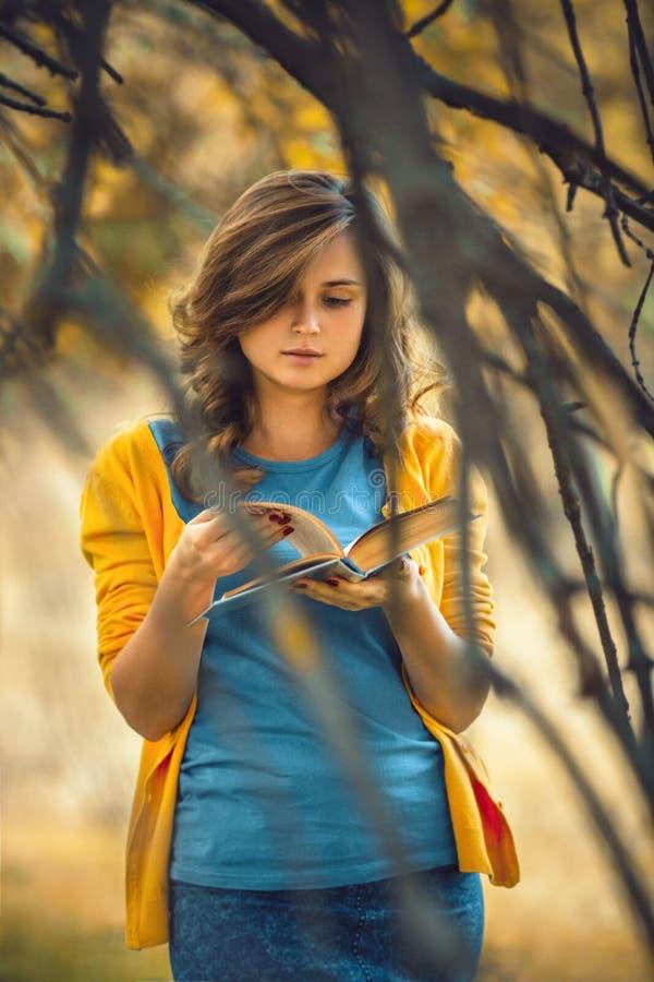 Najaarsportret van een mooi meisje met een open boek in de kale takken, een vrouw leest fictie over de natuur, concept hobby en stock afbeelding
