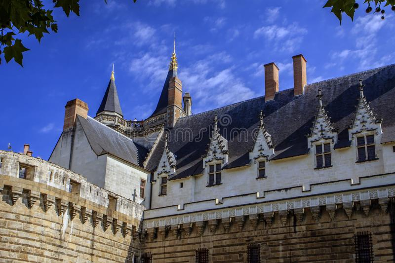Castle of the Dukes of Brittany in Nantes, France stock images