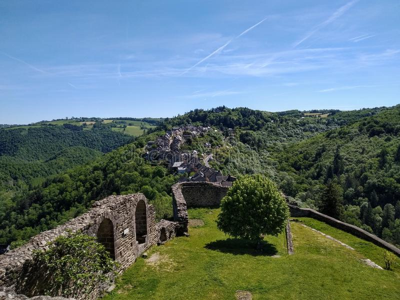 Najac, France. Picturesque destinations. Najac, France.  View from the castle to the vilage and the hills royalty free stock image