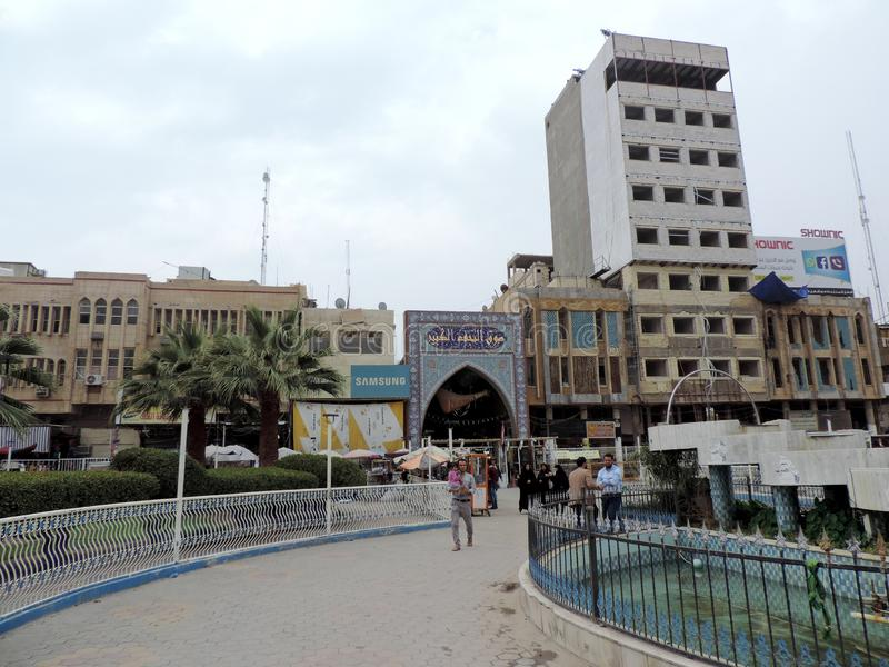 Streets of Najaf. Najaf or al-Najaf al-Ashraf is a city in central-south Iraq about 160 km south of Baghdad. It is the capital of Najaf Governorate. It is widely royalty free stock image