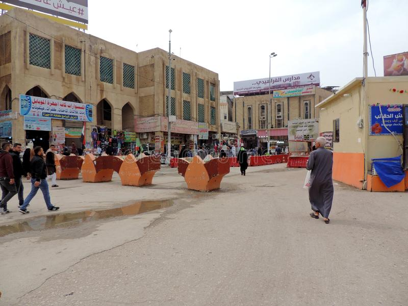 Streets of Najaf. Najaf or al-Najaf al-Ashraf is a city in central-south Iraq about 160 km south of Baghdad. It is the capital of Najaf Governorate. It is widely stock image