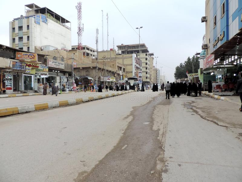 Streets of Najaf. Najaf or al-Najaf al-Ashraf is a city in central-south Iraq about 160 km south of Baghdad. It is the capital of Najaf Governorate. It is widely royalty free stock photos