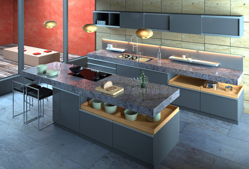 najbardziej nowoczesne wewnętrznego kuchenny obraz stock