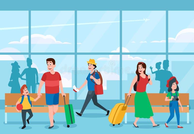 najbardziej ruchliwy terminal na lotnisku Osoby w podróży służbowej, rodzinni wakacje podróżują przy lotnisko terminalami wektoro royalty ilustracja