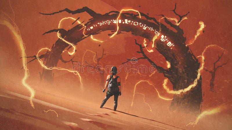 Najeźdźca czerwona pustynia ilustracja wektor