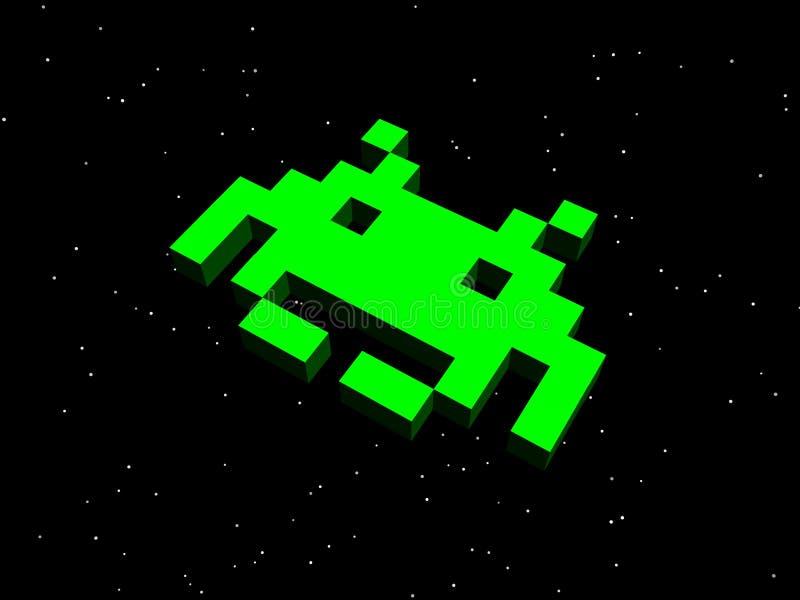 Najeźdźcy, astronautyczne najeźdźcy! Zielony obcy statek ilustracja wektor