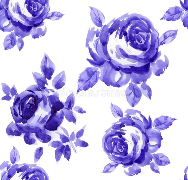 najlepsza nowożytna ornamentu wzoru klingerytu replicate róża bezszwowa ilustracji