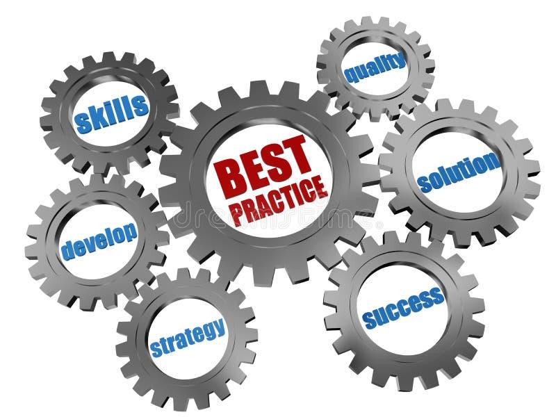 Najlepsza praktyka - biznesowi pojęcia srebra gearwheels royalty ilustracja