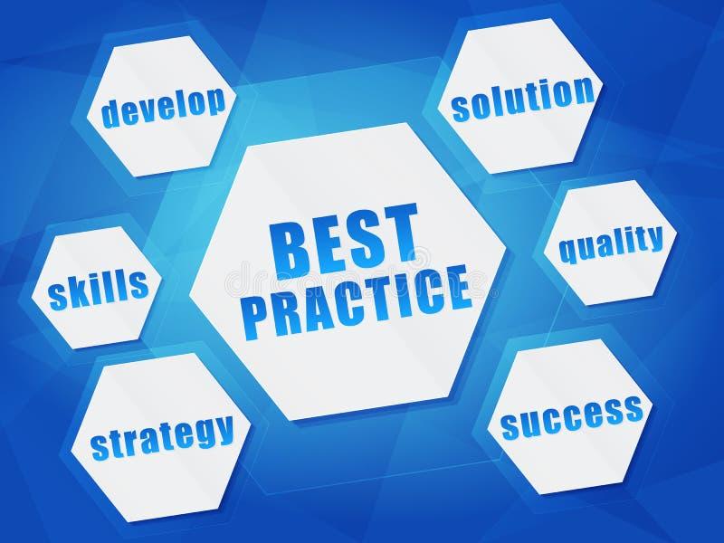 Najlepsza praktyka i biznesu pojęcia słowa w sześciokątach ilustracja wektor