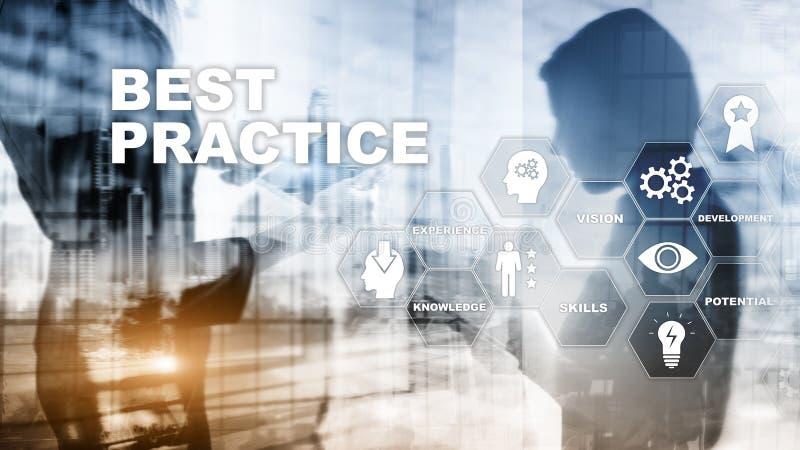 Najlepsza praktyka na wirtualnym ekranie Biznesu, technologii, interneta i sieci poj?cie, royalty ilustracja