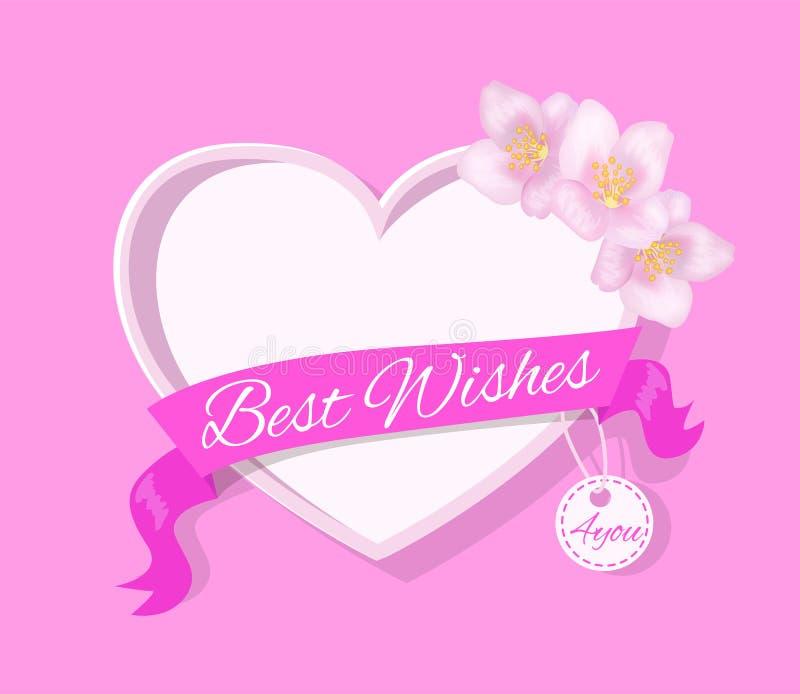 Najlepsze Życzenia 4 ty kartka z pozdrowieniami projekt z sercem ilustracji