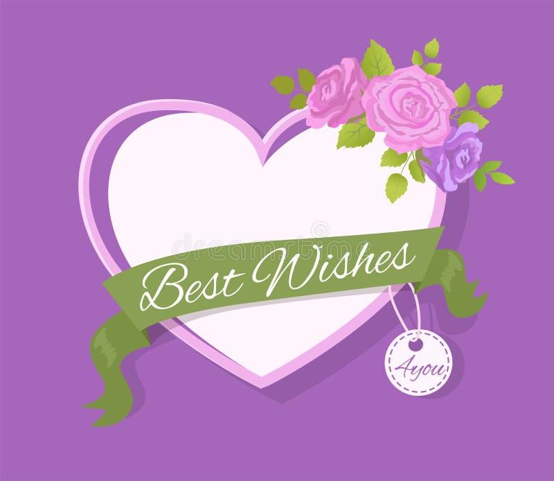 Najlepsze Życzenia 4 ty kartka z pozdrowieniami projekt z sercem ilustracja wektor