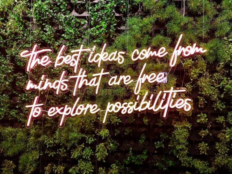 'Najlepsze pomysły pochodzą z umysłów, które mogą swobodnie zgłębiać możliwości' cytuję - Neon fajny inspirujący cytat obraz royalty free