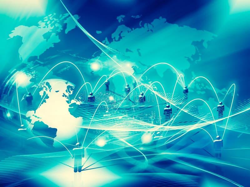 najlepszego biznesowego pojęcia globalni internety Kula ziemska, jarzy się linie o ilustracja wektor