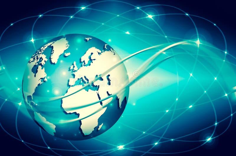 najlepszego biznesowego pojęcia globalni internety Kula ziemska, jarzy się linie o royalty ilustracja