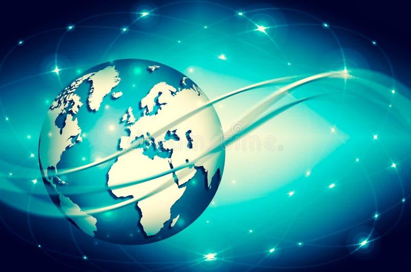 najlepszego biznesowego pojęcia globalni internety Kula ziemska, jarzy się linie o ilustracji