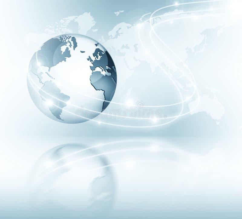najlepszego biznesowego pojęcia globalni internety Kula ziemska, jarzy się wykłada na technologicznym tle Elektronika, Fi, promie ilustracji
