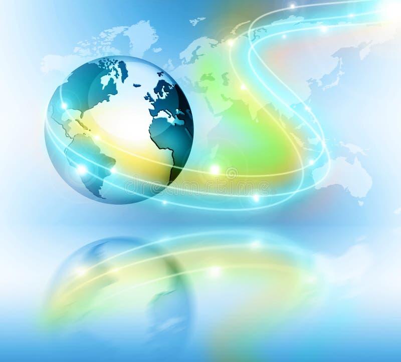 najlepszego biznesowego pojęcia globalni internety Kula ziemska, jarzy się wykłada na technologicznym tle Elektronika, Fi, promie ilustracja wektor