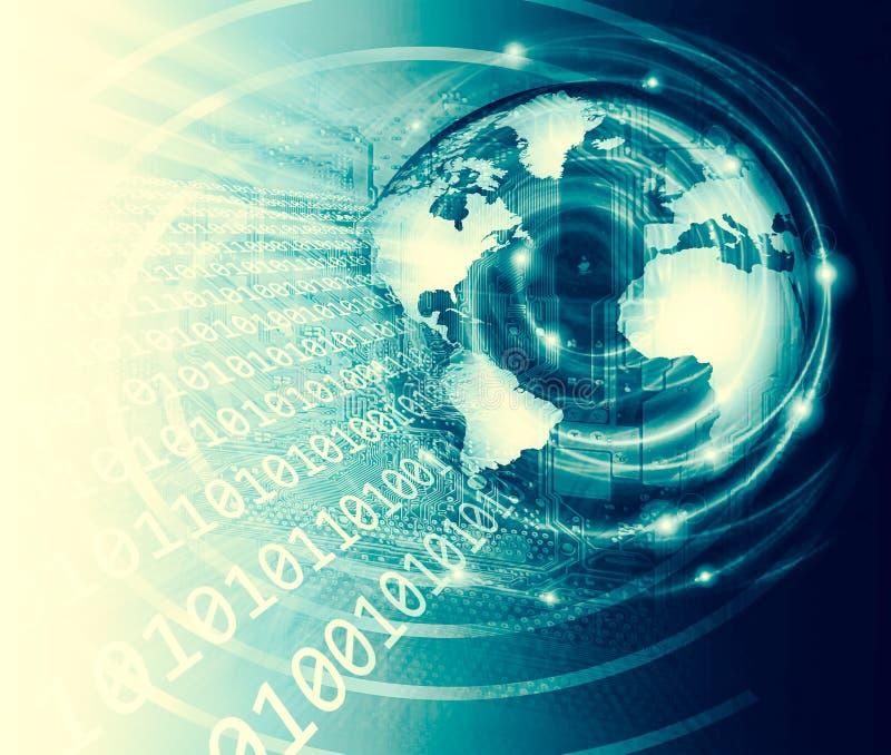 najlepszego biznesowego pojęcia globalni internety Kula ziemska, jarzy się wykłada na technologicznym tle Fi, promienie, symbole ilustracja wektor