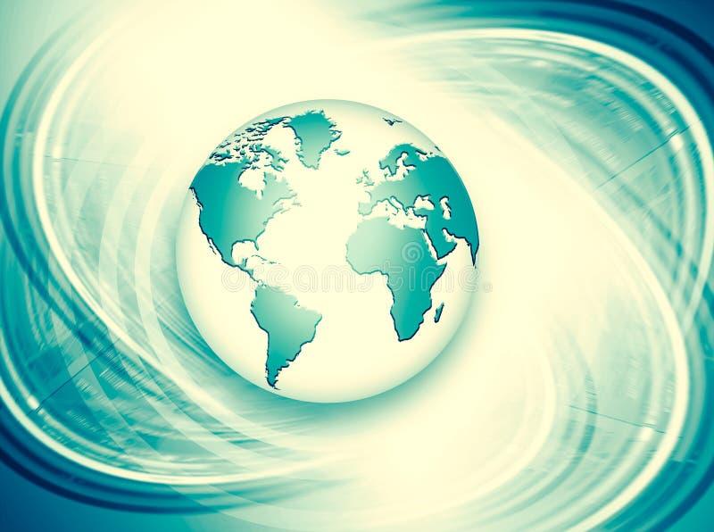 najlepszego biznesowego pojęcia globalni internety Kula ziemska, jarzy się wykłada na technologicznym tle Fi, promienie, symbole royalty ilustracja