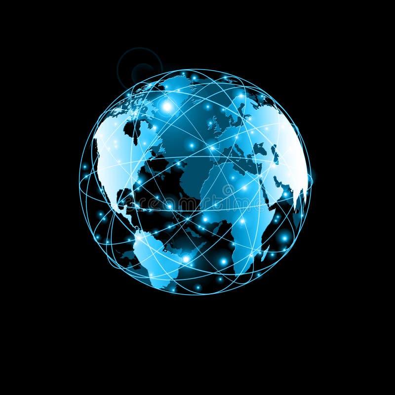 najlepszego biznesowego pojęcia globalni internety Kula ziemska, jarzy się wykłada na technologicznym tle Fi, promienie, symbole ilustracji