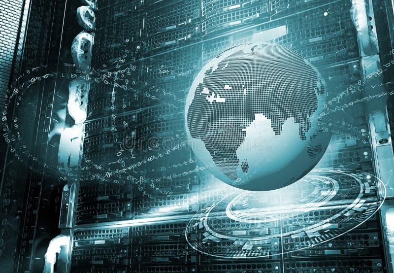 najlepszego biznesowego pojęcia globalni internety Kula ziemska, jarzy się wykłada na technologicznym tle promienie, symbolu inte ilustracja wektor