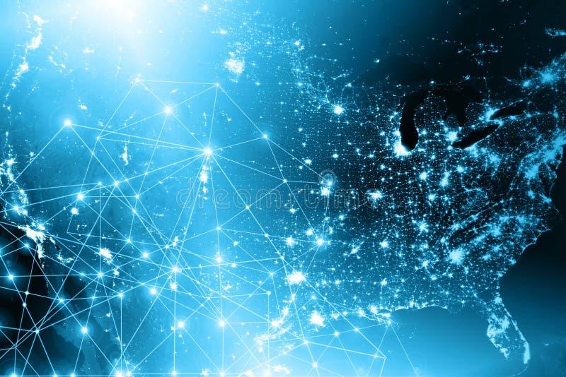 najlepszego biznesowego pojęcia globalni internety Technologiczny tło, symbole Fi internet i satelita, royalty ilustracja
