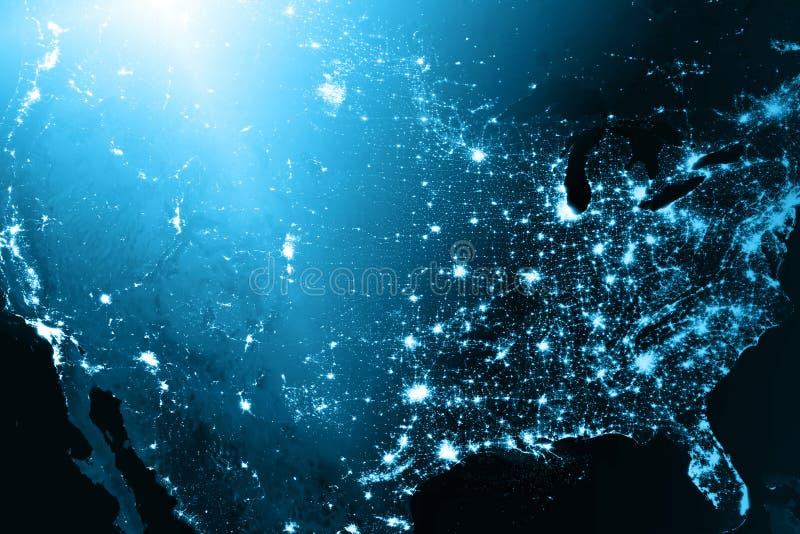 najlepszego biznesowego pojęcia globalni internety Technologiczny tło, symbole Fi internet i satelita, ilustracji
