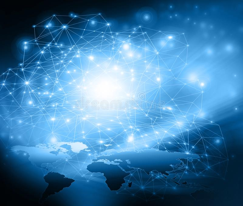 najlepszego biznesowego pojęcia globalni internety Technologiczny tło, symbole Fi internet, telewizja, wisząca ozdoba ilustracji