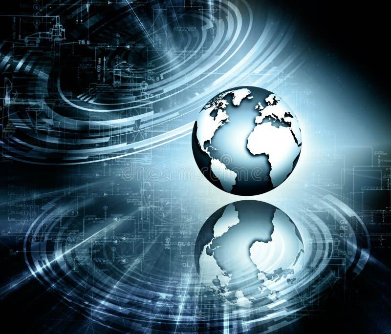 najlepszego biznesowego poj?cia globalni internety Kula ziemska, jarzy si? wyk?ada na technologicznym tle Elektronika, Fi, promie ilustracja wektor