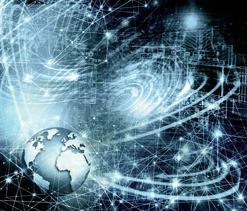 najlepszego biznesowego poj?cia globalni internety Kula ziemska, jarzy si? wyk?ada na technologicznym tle Elektronika, Fi, promie ilustracji