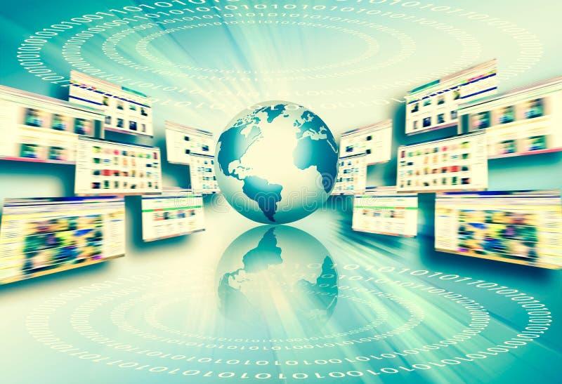 najlepszego biznesowego poj?cia globalni internety Kula ziemska, jarzy si? wyk?ada na technologicznym tle Fi, promienie, symbole ilustracji