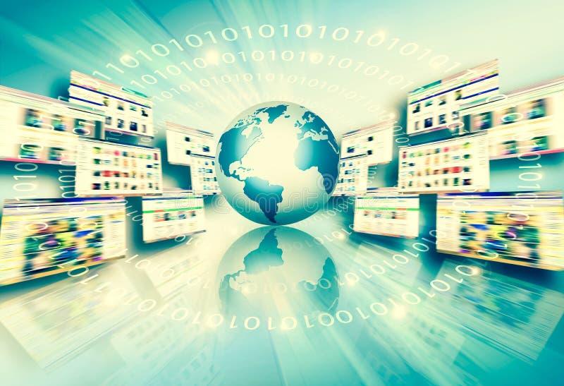 najlepszego biznesowego poj?cia globalni internety Kula ziemska, jarzy si? wyk?ada na technologicznym tle Fi, promienie, symbole royalty ilustracja