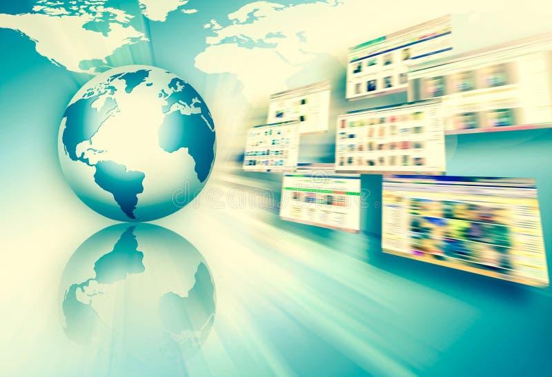 najlepszego biznesowego poj?cia globalni internety Kula ziemska, jarzy si? wyk?ada na technologicznym tle Fi, promienie, symbole ilustracja wektor