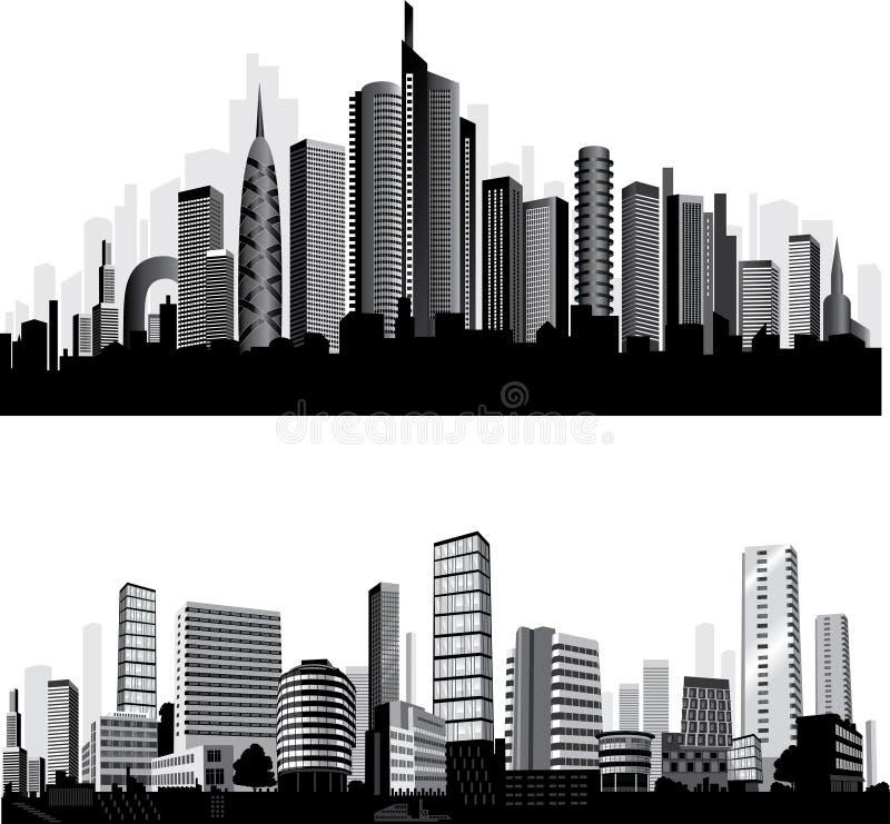najlepszego miasta ustalony sylwetek wektor ilustracji