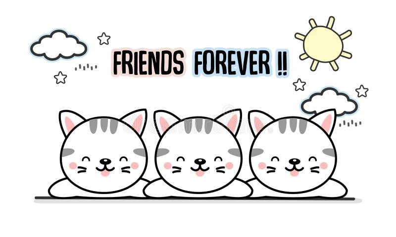 Najlepszego przyjaciela na zawsze kotów kreskówka ilustracji