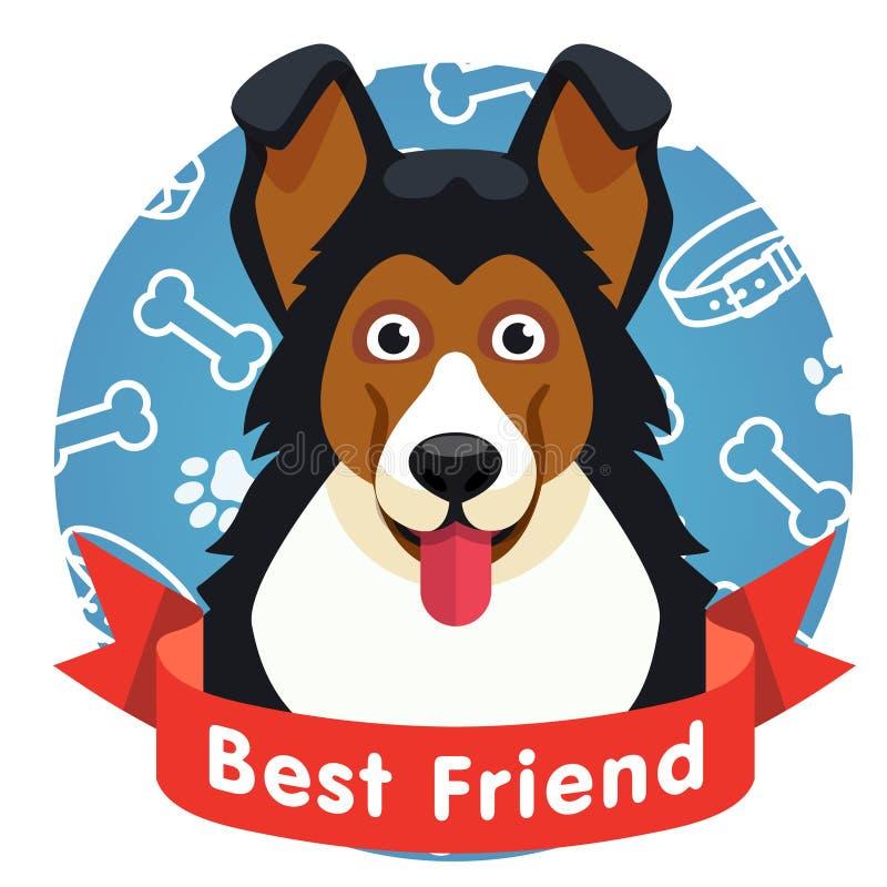 Najlepszego przyjaciela symbol Psia zwierzę domowe twarz z czerwonym faborkiem royalty ilustracja